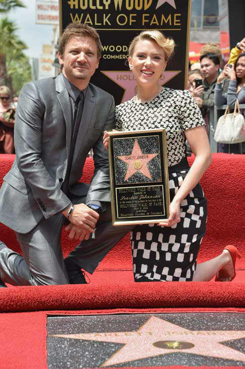 "<div class=""meta ""><span class=""caption-text "">Actor Jeremy Renner (L) poses with actress Scarlett Johansson as she is honored on the Hollywood Walk of Fame on May 2, 2012 in Hollywood, California. (Alberto E. Rodriguez/WireImage)</span></div>"