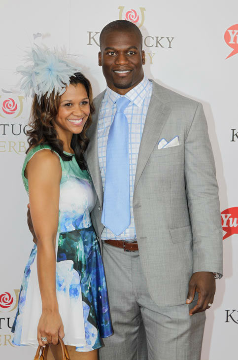 Cleveland Brown&#39;s Benjamin Watson arrives with a guest for the 138th Kentucky Derby horse race at Churchill Downs Saturday, May 5, 2012, in Louisville, Ky.  <span class=meta>(AP Photo&#47; Darron Cummings)</span>