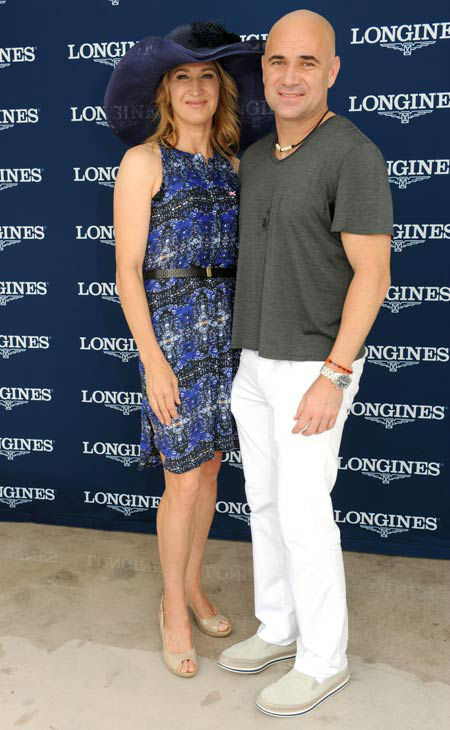In this photgraph taken by AP Images for Longines, tennis legends Andre Agassi and Stefanie Graf, Longines ambassadors, attend Kentucky Oaks Day festivities, Friday, May 4, 2012, in Louisville, Ky.   Longines, the Swiss watch manufacturer known for its luxury timepieces, is the Official Watch and Timekeeper of the 138th annual Kentucky Derby. <span class=meta>(AP Photo&#47; Diane Bondareff)</span>