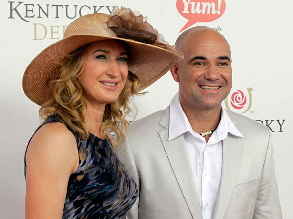 Former tennis players Steffi Graf and her husband Andre Agassi arrive for the 138th Kentucky Derby horse race at Churchill Downs Saturday, May 5, 2012, in Louisville, Ky. <span class=meta>(AP Photo&#47; Darron Cummings)</span>