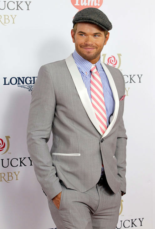 &#39;Twilight&#39; series actor Kellan Lutz arrives for the 138th Kentucky Derby horse race at Churchill Downs Saturday, May 5, 2012, in Louisville, Ky.  <span class=meta>(AP Photo&#47; Darron Cummings)</span>