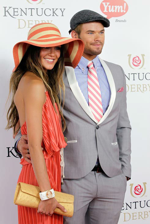 &#39;Twilight&#39; series actor Kellan Lutz arrives with a guest for the 138th Kentucky Derby horse race at Churchill Downs Saturday, May 5, 2012, in Louisville, Ky. <span class=meta>(AP Photo&#47; Darron Cummings)</span>