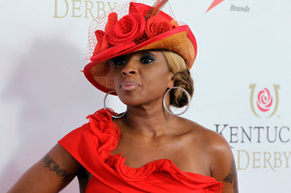 Singer Mary J Blige arrives for the 138th Kentucky Derby horse race at Churchill Downs Saturday, May 5, 2012, in Louisville, Ky.  <span class=meta>(AP Photo&#47; Darron Cummings)</span>