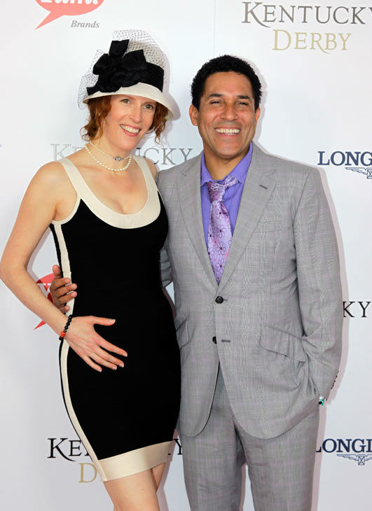 Oscar Nunez from &#39;The Office&#39; arrives with a guest for the 138th Kentucky Derby horse race at Churchill Downs Saturday, May 5, 2012, in Louisville, Ky. <span class=meta>(AP Photo&#47; Darron Cummings)</span>