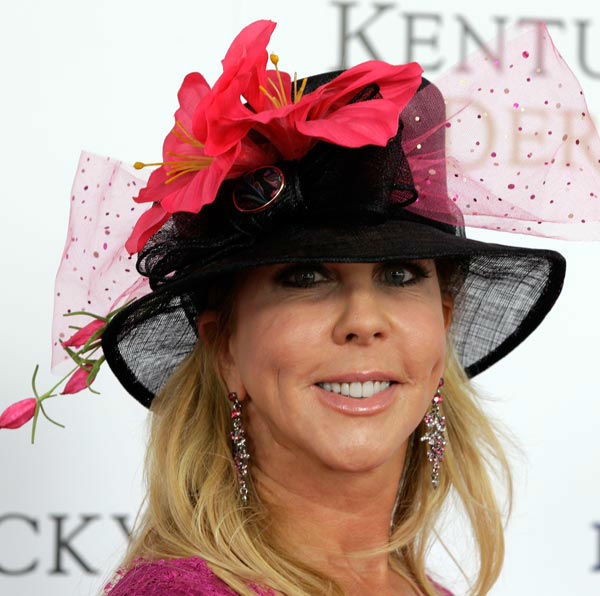 Vicki Gunvalson, star of 'Real Housewives of Orange County' arrives for the 138th Kentucky Derby horse race at Churchill Downs Saturday, May 5, 2012, in Louisville, Ky.