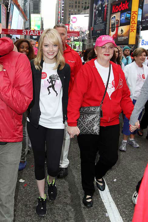 Actress Emma Stone, left, and her mother, breast cancer survivor Krista Stone take part in the 15th Annual EIF Revlon Run&#47;Walk for Women, Saturday, May 5, 2012 in New York. Revlon Global Brand Ambassadors Emma Stone and fellow actress Olivia Wilde hosted the fundraising event, one of the largest single-day fundraisers for women&#39;s cancers in the country. <span class=meta>(AP Photo&#47; Amanda Schwab)</span>