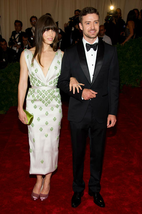 Jessica Biel and Justin Timberlake arrive at the Metropolitan Museum of Art Costume Institute gala benefit, celebrating Elsa Schiaparelli and Miuccia Prada, Monday, May 7, 2012 in New York.