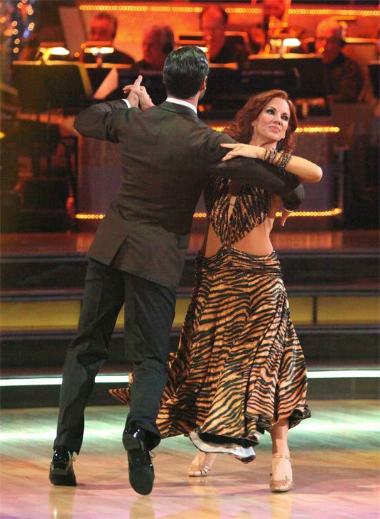 "<div class=""meta ""><span class=""caption-text "">Melissa Gilbert, a former child star who played Laura on 'Little House on the Prairie,' and her partner Maksim Chmerkovskiy received 24 out of 30 points from the judges for their Fox Trot on week eight of 'Dancing With The Stars,' which aired on Monday, May 7, 2012. (ABC Photo/ Adam Taylor)</span></div>"