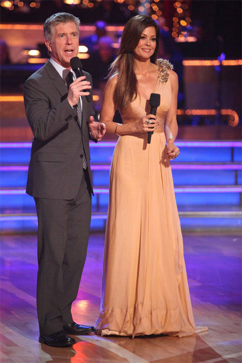 Hosts Tom Bergeron and Brooke Burke Charvet appeared on week eight of 'Dancing With The Stars,' which aired on Monday, May 7, 2012.