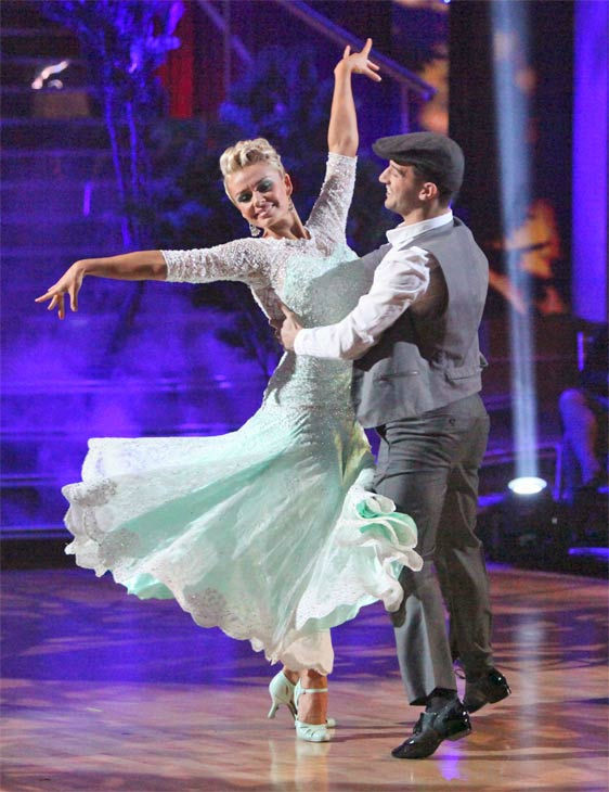 Classical singer Katherine Jenkins and her partner Mark Ballas received 26 out of 30 points from the judges for their Viennese Waltz on week eight of &#39;Dancing With The Stars,&#39; which aired on Monday, May 7, 2012. <span class=meta>(ABC Photo&#47; Adam Taylor)</span>