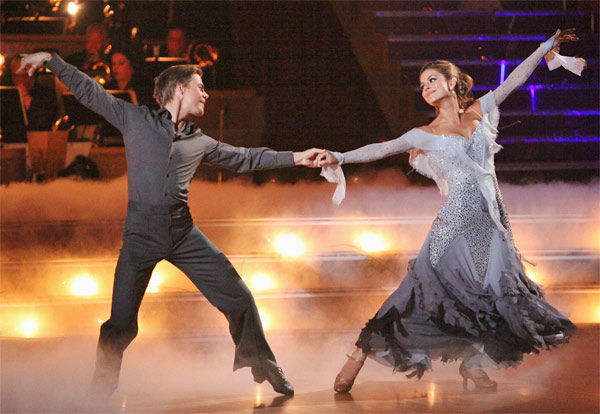 TV personality Maria Menounos and her partner Derek Hough received 28 out of 30 points from the judges for their Viennese Waltz on week eight of &#39;Dancing With The Stars,&#39; which aired on Monday, May 7, 2012. <span class=meta>(ABC Photo&#47; Adam Taylor)</span>
