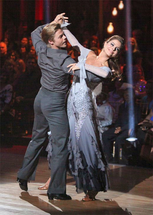 "<div class=""meta ""><span class=""caption-text "">TV personality Maria Menounos and her partner Derek Hough received 28 out of 30 points from the judges for their Viennese Waltz on week eight of 'Dancing With The Stars,' which aired on Monday, May 7, 2012. (ABC Photo/ Adam Taylor)</span></div>"
