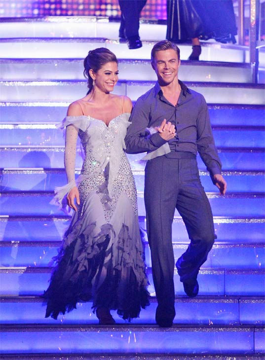 "<div class=""meta image-caption""><div class=""origin-logo origin-image ""><span></span></div><span class=""caption-text"">TV personality Maria Menounos and her partner Derek Hough received 28 out of 30 points from the judges for their Viennese Waltz on week eight of 'Dancing With The Stars,' which aired on Monday, May 7, 2012. (ABC Photo/ Adam Taylor)</span></div>"