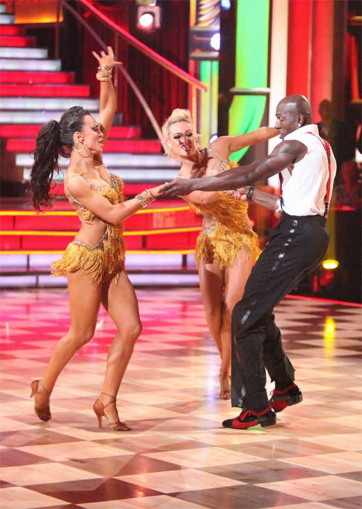 "<div class=""meta ""><span class=""caption-text "">Football star Donald Driver and his partner Peta Murgatroyd, along with guest dancer Karina Smirnoff, received 28 out of 30 points from the judges for their 'Trio' Jive on week eight of 'Dancing With The Stars,' which aired on Monday, May 7, 2012. His total score was 55 out of 60 points. (ABC Photo/ Adam Taylor)</span></div>"