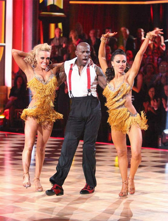 Football star Donald Driver and his partner Peta Murgatroyd, along with guest dancer Karina Smirnoff, received 28 out of 30 points from the judges for their &#39;Trio&#39; Jive on week eight of &#39;Dancing With The Stars,&#39; which aired on Monday, May 7, 2012. His total score was 55 out of 60 points. <span class=meta>(ABC Photo&#47; Adam Taylor)</span>