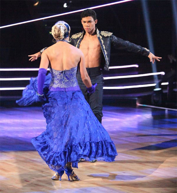 "<div class=""meta image-caption""><div class=""origin-logo origin-image ""><span></span></div><span class=""caption-text"">Disney Channel star Roshon Fegan and his partner Chelsie Hightower, along with guest dancer Sasha Farber, received 27 out of 30 points from the judges for their 'Trio' Paso Doble on week eight of 'Dancing With The Stars,' which aired on Monday, May 7, 2012. His total score was 56 out of 60 points. (ABC Photo/ Adam Taylor)</span></div>"