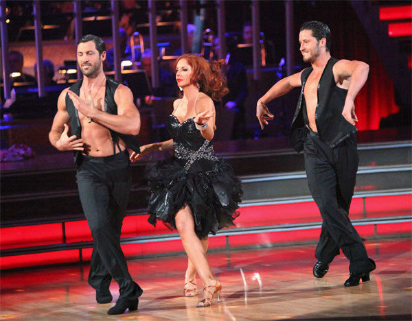 "<div class=""meta ""><span class=""caption-text "">Melissa Gilbert, a former child star who played Laura on 'Little House on the Prairie,' and her partner Maksim Chmerkovskiy, along with guest dancer Val Chmerkovskiy, received 27 out of 30 points from the judges for their 'Trio' Samba on week eight of 'Dancing With The Stars,' which aired o nMonday, May 7, 2012. Her total score was 51 out of 60 points. (ABC Photo/ Adam Taylor)</span></div>"