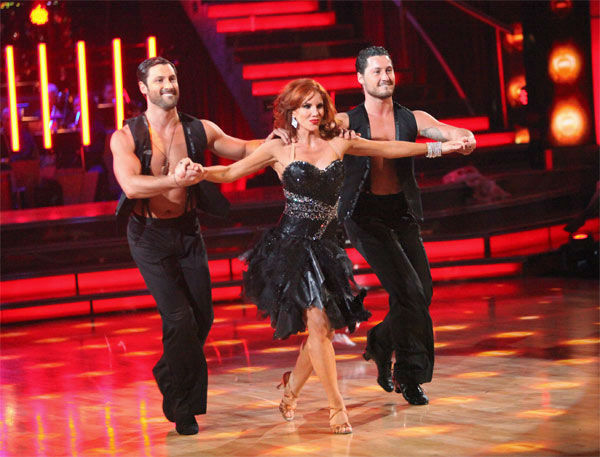 Melissa Gilbert, a former child star who played Laura on &#39;Little House on the Prairie,&#39; and her partner Maksim Chmerkovskiy, along with guest dancer Val Chmerkovskiy, received 27 out of 30 points from the judges for their &#39;Trio&#39; Samba on week eight of &#39;Dancing With The Stars,&#39; which aired on Monday, May 7, 2012. Her total score was 51 out of 60 points. <span class=meta>(ABC Photo&#47; Adam Taylor)</span>