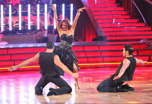 "<div class=""meta ""><span class=""caption-text "">Melissa Gilbert, a former child star who played Laura on 'Little House on the Prairie,' and her partner Maksim Chmerkovskiy, along with guest dancer Val Chmerkovskiy, received 27 out of 30 points from the judges for their 'Trio' Samba on week eight of 'Dancing With The Stars,' which aired on Monday, May 7, 2012. Her total score was 51 out of 60 points. (ABC Photo/ Adam Taylor)</span></div>"