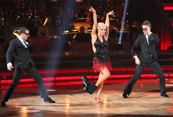 Classical singer Katherine Jenkins and her partner Mark Ballas, along with guest dancer Tristan MacManus, received 29 out of 30 points from the judges for their &#39;Trio&#39; Cha Cha Cha on week eight of &#39;Dancing With The Stars,&#39; which aired on Monday, May 7, 2012. Her total score was 55 out of 60 points. <span class=meta>(ABC Photo&#47; Adam Taylor)</span>