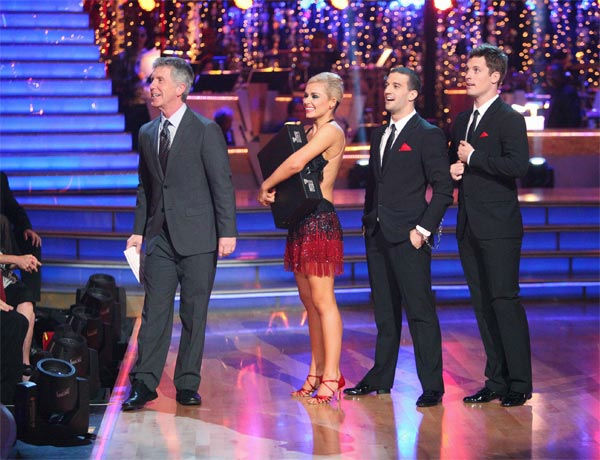 "<div class=""meta ""><span class=""caption-text "">Classical singer Katherine Jenkins and her partner Mark Ballas, along with guest dancer Tristan MacManus, received 29 out of 30 points from the judges for their 'Trio' Cha Cha Cha on week eight of 'Dancing With The Stars,' which aired on Monday, May 7, 2012. Her total score was 55 out of 60 points. (ABC Photo/ Adam Taylor)</span></div>"