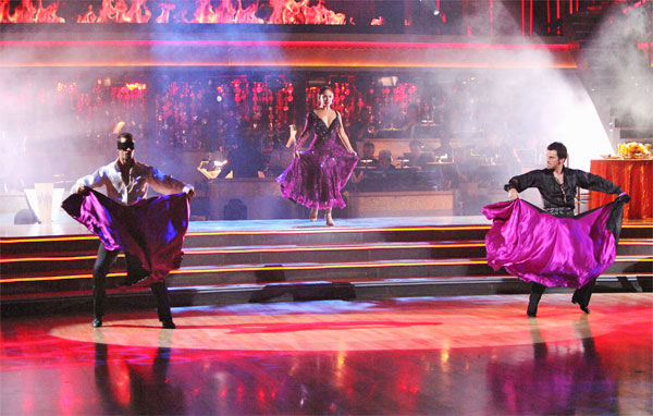 Telenovela star William Levy and his partner Cheryl Burke, along with guest dancer Tony Dovolani, received 27 out of 30 points from the judges for their &#39;Trio&#39; Paso Doble on week eight of &#39;Dancing With The Stars,&#39; which aired on Monday, May 7, 2012. His total score was 57 out of 60 points. <span class=meta>(ABC Photo&#47; Adam Taylor)</span>