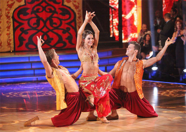 "<div class=""meta image-caption""><div class=""origin-logo origin-image ""><span></span></div><span class=""caption-text"">TV personality Maria Menounos and her partner Derek Hough, along with guest dancer Henry Byalikov, received 25 out of 30 points from the judges for their 'Trio' Samba on week eight of 'Dancing With The Stars,' which aired on Monday, May 7, 2012. Her total score was 53 out of 60 points. (ABC Photo/ Adam Taylor)</span></div>"