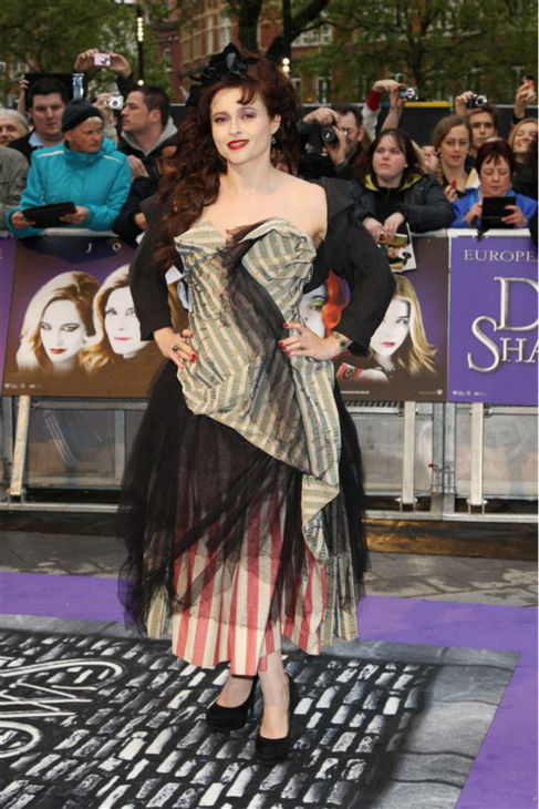 Helena Bonham Carter attends the premiere of partner Tim Burton&#39;s &#39;Dark Shadows&#39; film in London on May 9, 2012. <span class=meta>(Kiera Fyles &#47; Startraksphoto.com)</span>