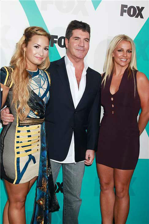 Britney Spears appears with fellow &#39;The X Factor&#39; judges Demi Lovato and Simon Cowell at the 2012 FOX Upfront Presentation in New York City on May 14, 2012.  <span class=meta>(Dave Allocca &#47; startraksphoto.com)</span>