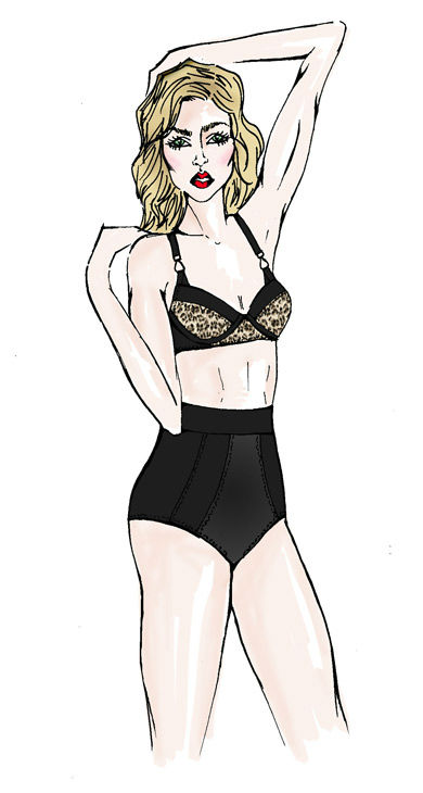 A sketch of Madonna wearing a custom look from...