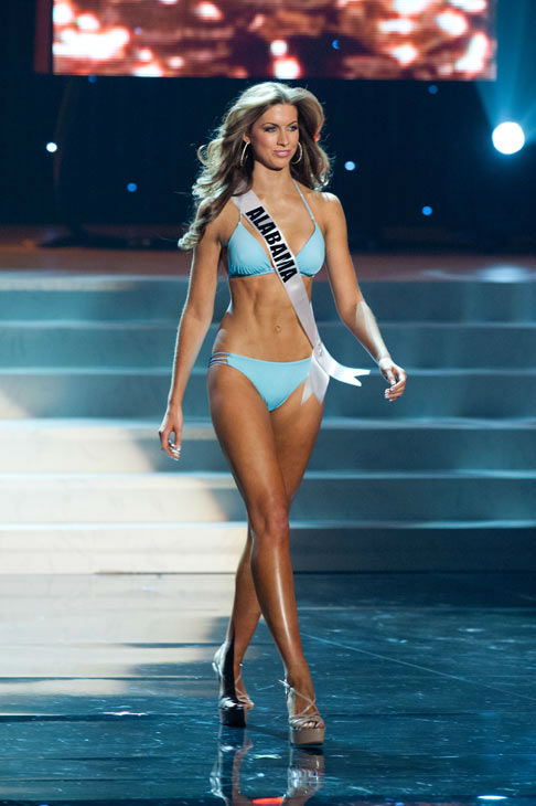 Miss Alabama poses in a bikini during the Miss...