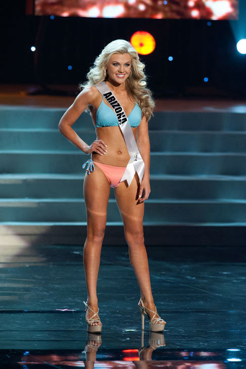 Miss Arizona poses in a bikini during the Miss...
