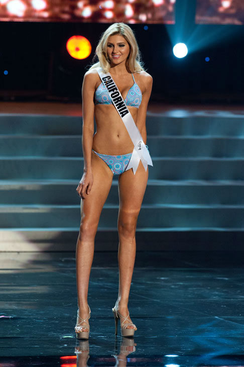 Miss California poses in a bikini during the...
