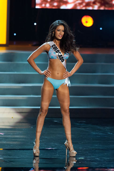 Miss Colorado poses in a bikini during the Miss...
