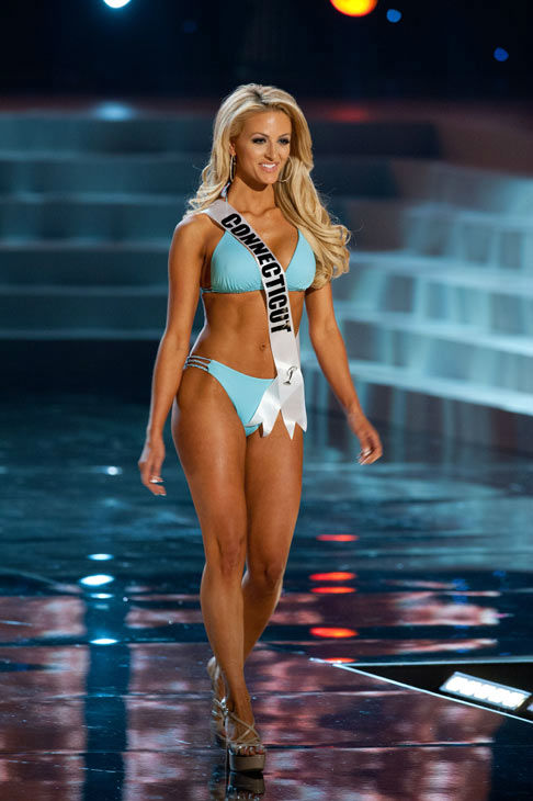Miss Connecticut poses in a bikini during the...