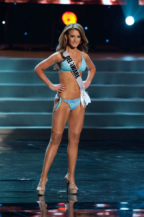 Miss Delaware poses in a bikini during the Miss...