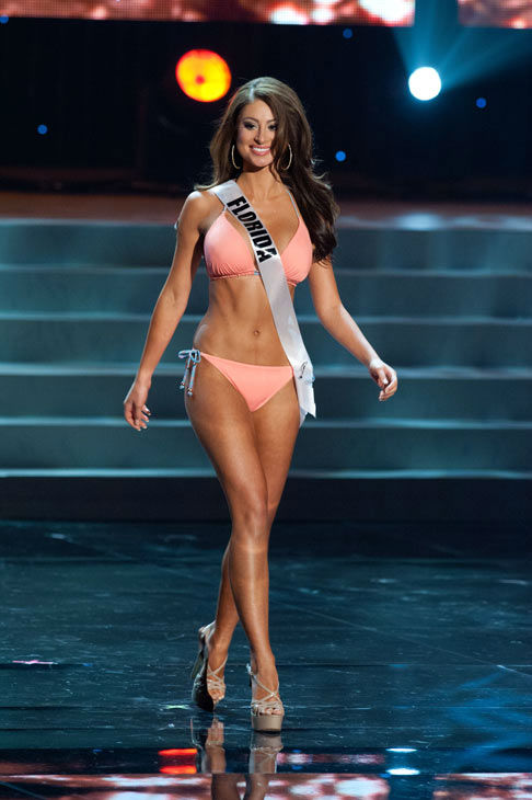 Miss Florida poses in a bikini during the Miss...