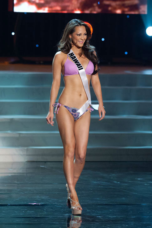 Miss Hawaii poses in a bikini during the Miss...
