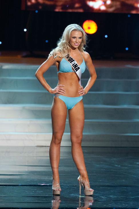 Miss Indiana poses in a bikini during the Miss...