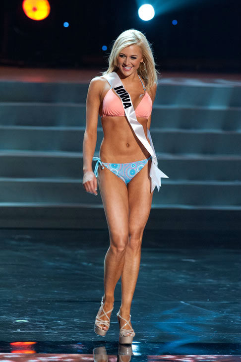 Miss Iowa poses in a bikini during the Miss USA Presentation Show on May 30 from the Planet Hollywood Resort in Las Vegas, Nevada. The 2012 MISS USA Pageant will air live on NBC June 3 at 9:00 p.m. ET from the Theatre for Performing Arts. <span class=meta>(Miss USA &#47; Darren Decker)</span>