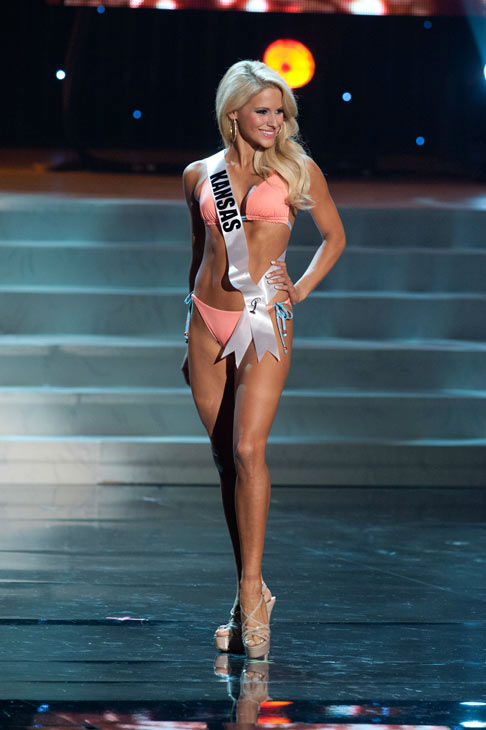 Miss Kansas poses in a bikini during the Miss...