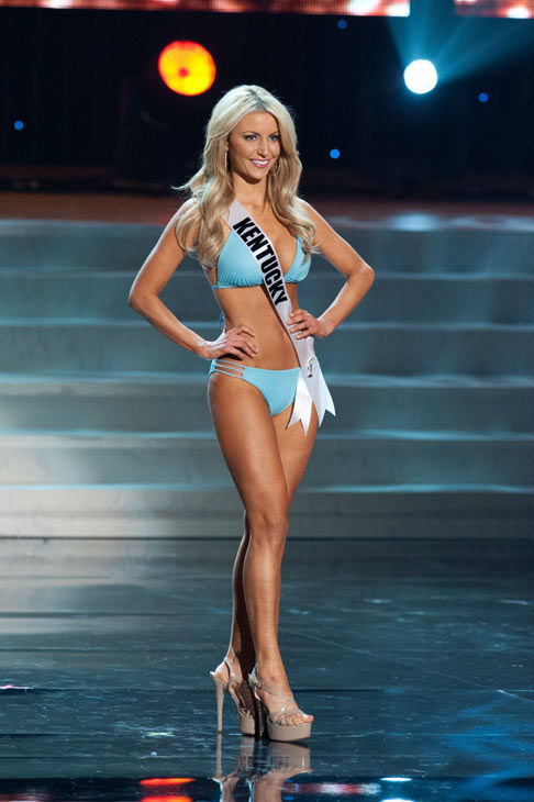 Miss Kentucky poses in a bikini during the Miss...
