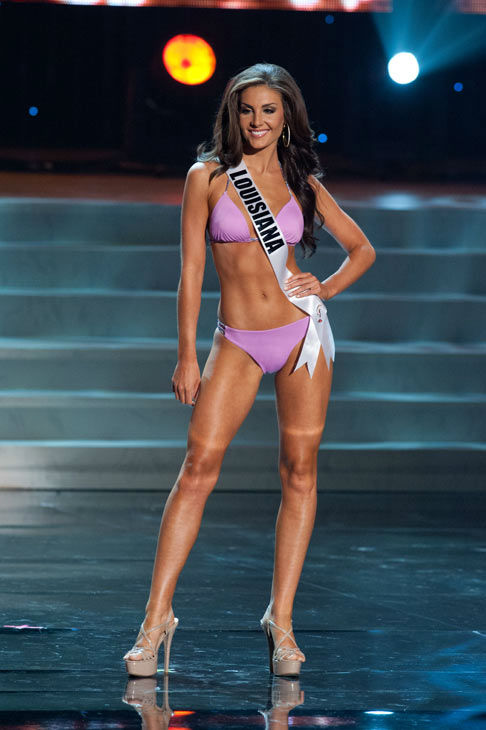 Miss Louisiana poses in a bikini during the Miss...