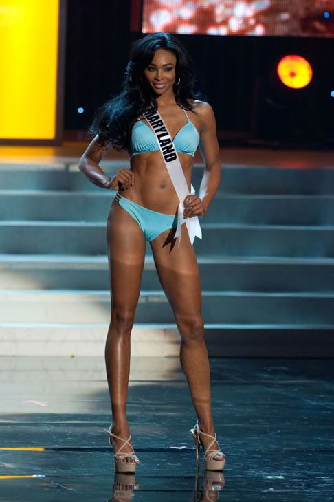 Miss Maryland poses in a bikini during the Miss...