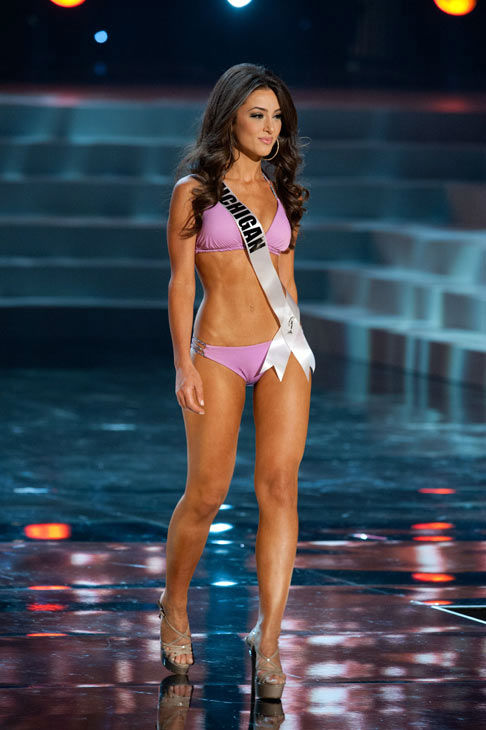 Miss Michigan poses in a bikini during the Miss...
