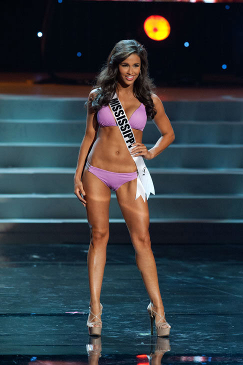 "<div class=""meta ""><span class=""caption-text "">Miss Mississippi poses in a bikini during the Miss USA Presentation Show on May 30 from the Planet Hollywood Resort in Las Vegas, Nevada. The 2012 MISS USA Pageant will air live on NBC June 3 at 9:00 p.m. ET from the Theatre for Performing Arts. (Miss USA / Darren Decker)</span></div>"