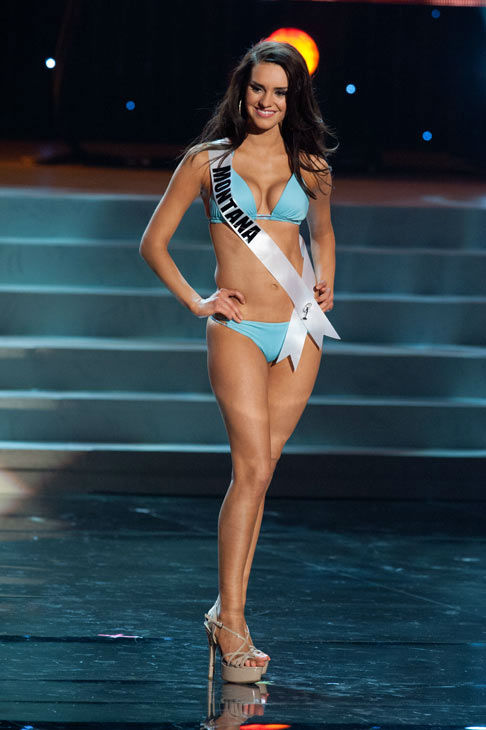 Miss Montana poses in a bikini during the Miss...