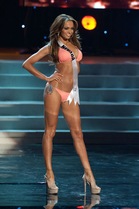 Miss Nevada poses in a bikini during the Miss...