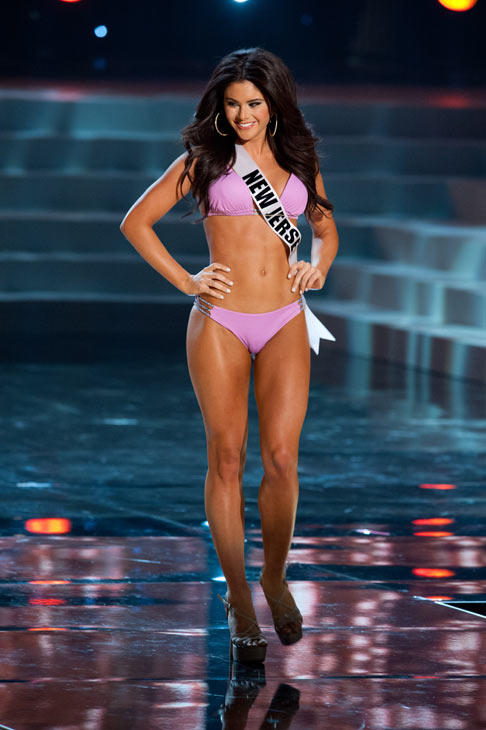 Miss New Jersey poses in a bikini during the...