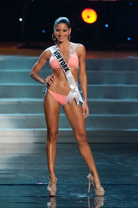 Miss New York poses in a bikini during the Miss...